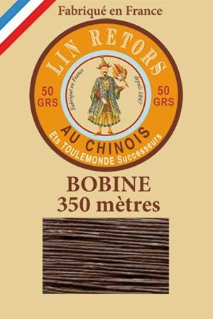 Waxed linen sewing thread size 40 - 350m spool Col.195 – Dark brown