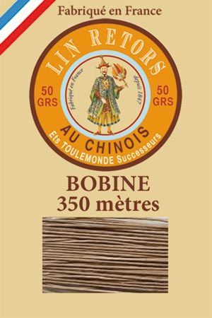 Waxed linen sewing thread size 40 - 350m spool Col.250 – Beige
