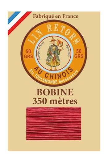 Waxed linen thread size 40 - 350m spool Col.525 - Red