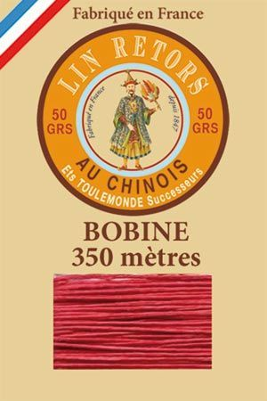 Waxed linen sewing thread size 40 - 350m spool Col.525 – Red