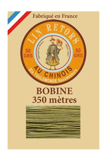 Waxed linen thread size 40 - 350m spool Col.848 - Yellow Green
