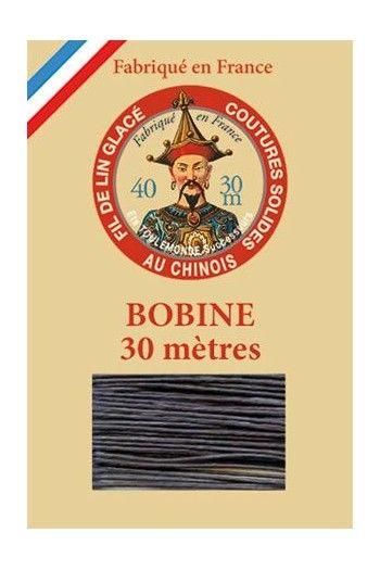 Waxed linen thread size 40 - 30m spool Col.174 - Very Dark Grey