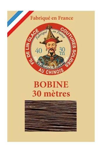 Waxed linen thread size 40 - 30m spool Col.195 - Dark Brown