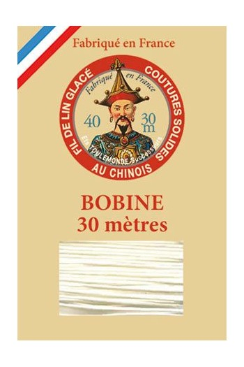 Waxed linen thread size 40 - 30m spool Col.308 - Ecru