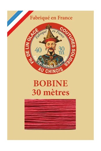 Waxed linen thread size 40 - 30m spool Col.525 - Red