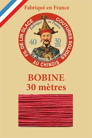 Waxed linen thread size 40 30m spool - Colour 525 - Red
