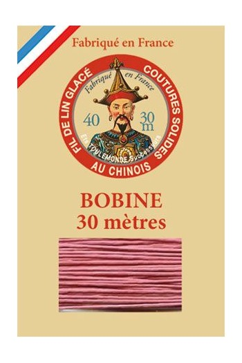 Waxed linen thread size 40 - 30m spool Col.600 - Old Pink