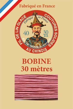 Waxed linen thread size 40 30m spool - Colour 600 - Old pink