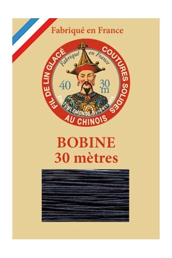 Waxed linen thread size 40 - 30m spool Col.650 - Navy Blue