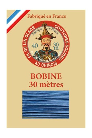 Waxed linen thread size 40 - 30m spool Col.735 - Turquoise