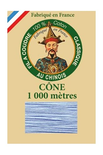 Fil Au Chinois 1 000m cone cotton thread 6722 - Azure