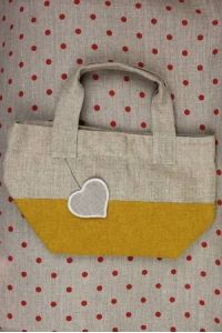 Canvas and boiled wool bag colour yellow heart to embroider