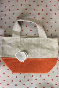 Canvas and boiled wool bag colour orange heart to embroider