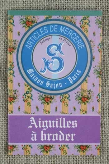 Six embroidery needles sizes 22, 24 & 26 - Sajou mauve booklet