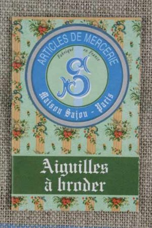 Six embroidery needles sizes 22, 24 & 26 - Sajou green booklet