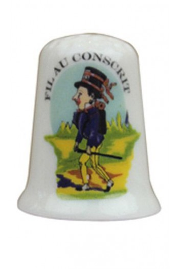 Fine white porcelain collectors thimble - Fil Au Conscrit