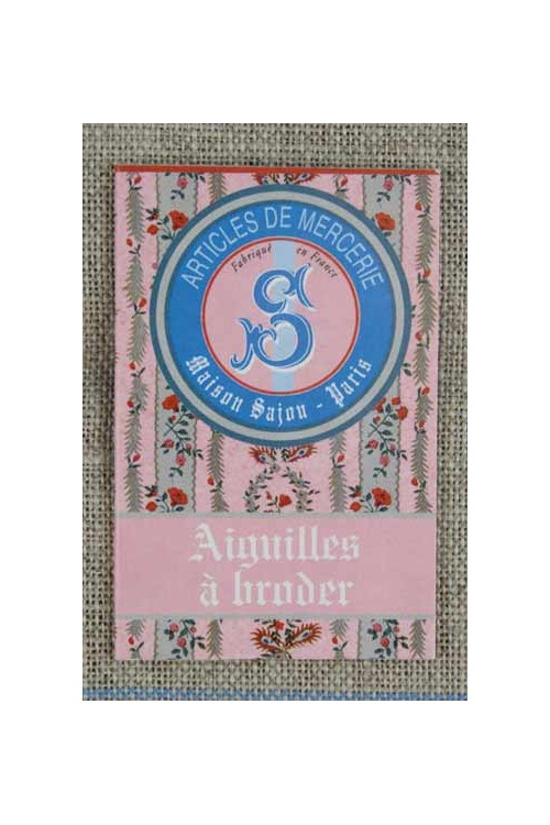 Six embroidery needles sizes 22, 24 & 26 - Sajou pink booklet