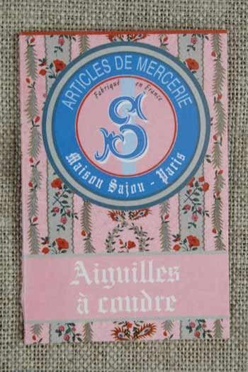 20 sewing needles - sizes 3, 5, 7 & 9 - Sajou pink booklet