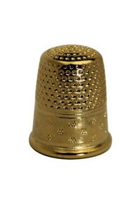 Gold-plated brass dressmakers thimble size 1 - 16,5 mm