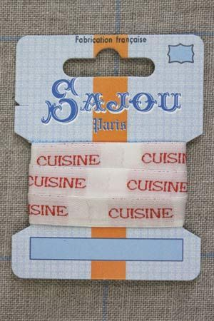"13mm woven ribbon ""Cuisine"" (kitchen) 1m card"