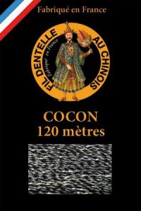 Coloured lace thread 120 m Caudry Cocoon  3180- Black