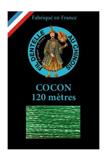 Coloured lace thread 120 m Caudry Cocoon 3051 - Lawn green