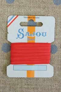 Embroidery ribbon card - 3mm width - Col.204 red