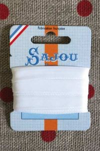 Embroidery ribbon card - 8mm width - Col.001 white