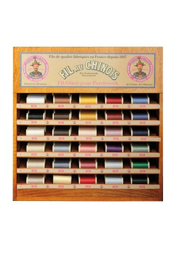 Fil Au Chinois thread display with 30 patchwork thread spools - 100m