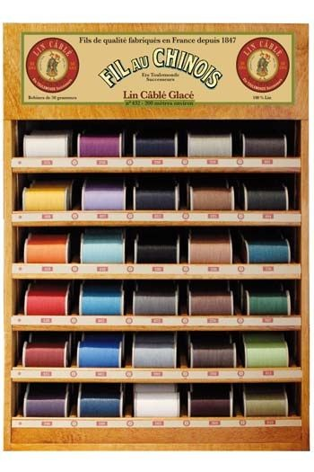 Fil Au Chinois thread display with 30 cable linen spools