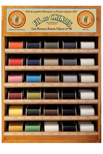 Fil Au Chinois thread display with 30 spools of retors linen - 350 m