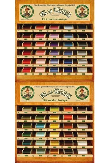 Two Fil Au Chinois thread display with 60 cotton thread spools - 100m