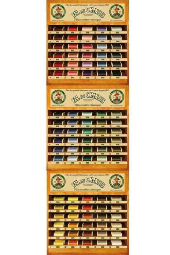 Three Fil Au Chinois thread display with 90 cotton thread spools - 100m
