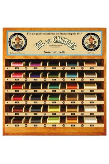 Fil Au Chinois thread display with 30 silk thread spools - 20m