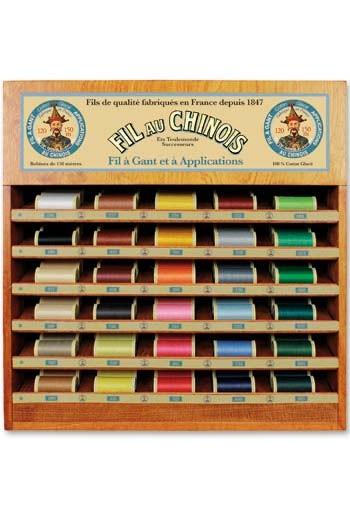 Fil Au Chinois thread display with 30 gloving thread spools - 150m