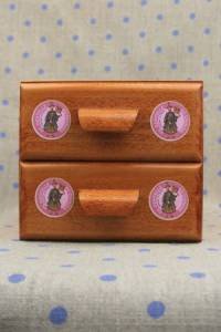 Sajou haberdashery chest of two drawers -  Pink Fil Au Chinois labels