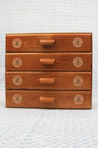Sajou haberdashery chest of four drawers - Fil Au Chinois round labels