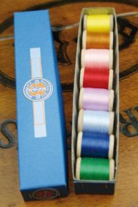 Eight Miniature Thread Spools box Sajou