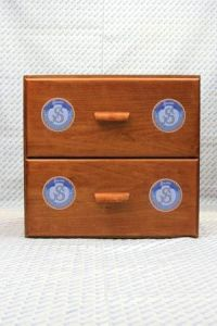 "Sajou shop drawers  - chest of two drawers - ""Rubans et dentelles"" labels"