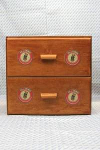 """Sajou shop drawers - chest of two drawers - Red """"Fil Au Chinois"""" labels"""