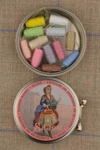 Sajou round metal tin with 12 pastel tones thread cocoons