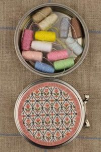 Sajou Marly round metal tin with 12 pastel tones thread cocoons