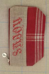 Cross stitch fancy work kit: linen pouch Sajou from 1848 to 1882