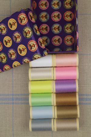 Box of 12 spools Polyvalent thread Assortment 2 - pastel tones