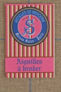 Six embroidery needles size 26 - Sajou pink striped  booklet