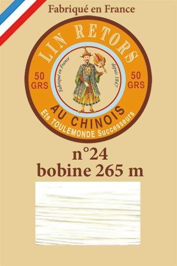 Leinenzwirn Nr.24 gewachst 265 Meter Spule – 100 Weiß