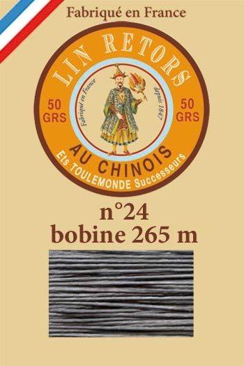 Fil de lin glacé n°24 - Bobine 265 mètres - Col. 155 - Gris foncé