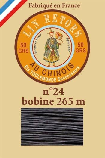 Waxed linen sewing thread size 24 - 265m spool Col.174 - Very dark grey