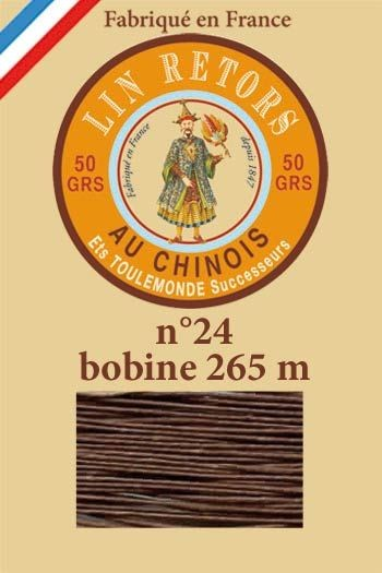 Waxed linen sewing thread size 24 - 265m spool Col.205 - Havana