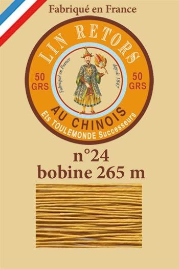 Waxed linen sewing thread size 24 - 265m spool Col. 405 - Golden yellow